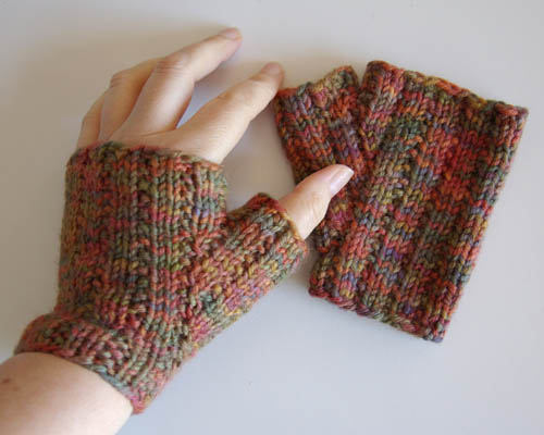 Free Knitting Pattern Lazy Rib Fingerless Mitts